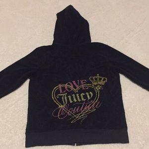 Juicy Couture Black Hooded Zip Up Sweatshirt